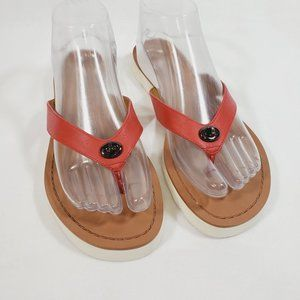 Coach Shelly Flip Flop Sandals Red Leather 8.5
